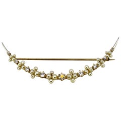 14 Karat Yellow Gold Crescent Brooch with Natural Freshwater Pearls and Diamonds