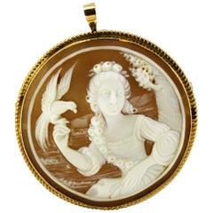 Victorian 15 Karat Gold Brooch or Pendant, with a Carnelian Cameo Portrait