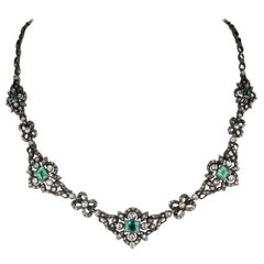 Authentic Georgian Rare Diamond and Emerald Stunning Necklace