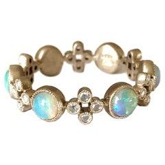Dalben Australian Opal Diamond Gold Band Ring