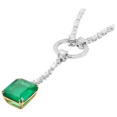 GRS Certified 26.64 Carat Natural Unheated Green Brazil Diamond Emerald Necklace