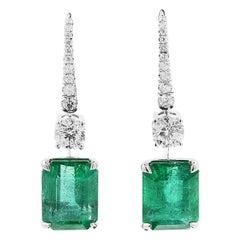 GRS Certified 14.71 Carat Natural Unheated Green Emerald White Diamond Earrings