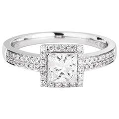 GIA Certified Natural White Princess Shape Engagement Wedding Diamond Ring