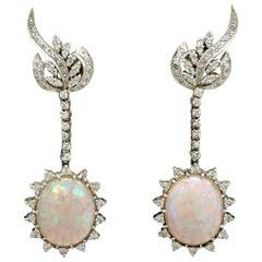1960s 11.52 Carat Opal and 2.52 Carat Diamond White Gold Drop Earrings