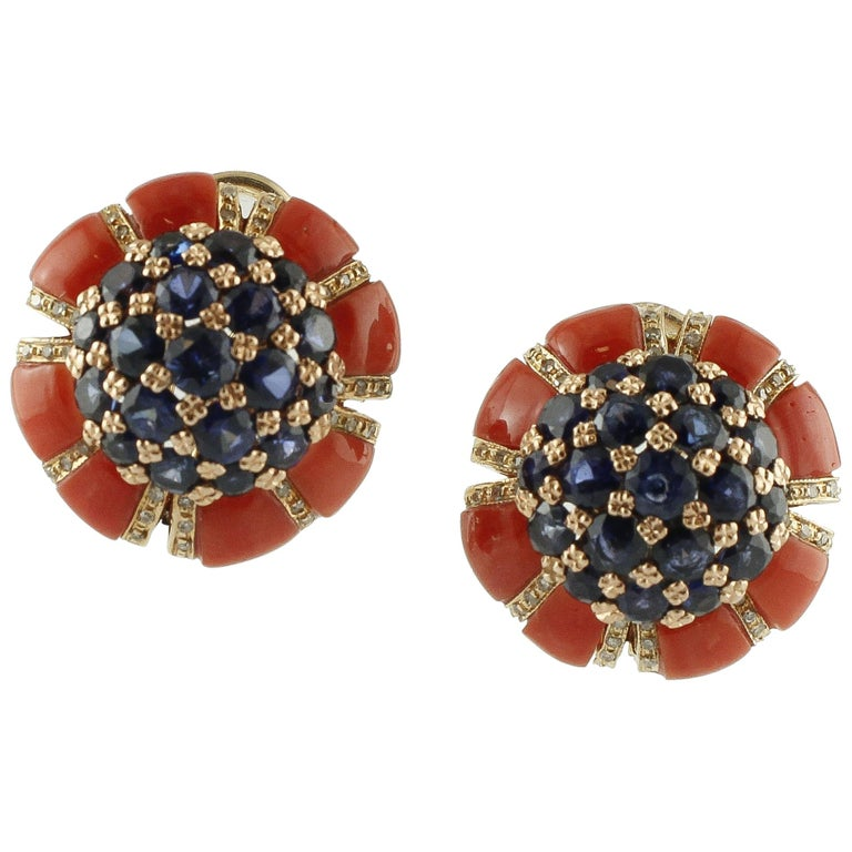 Intense Blue Sapphires, Corals, Diamonds, Rose Gold Clip-On Earrings For Sale