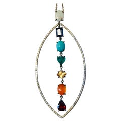 18K White Gold, 1.01Cts Diamonds and Gems Chakra Pendant by Frederique Berman