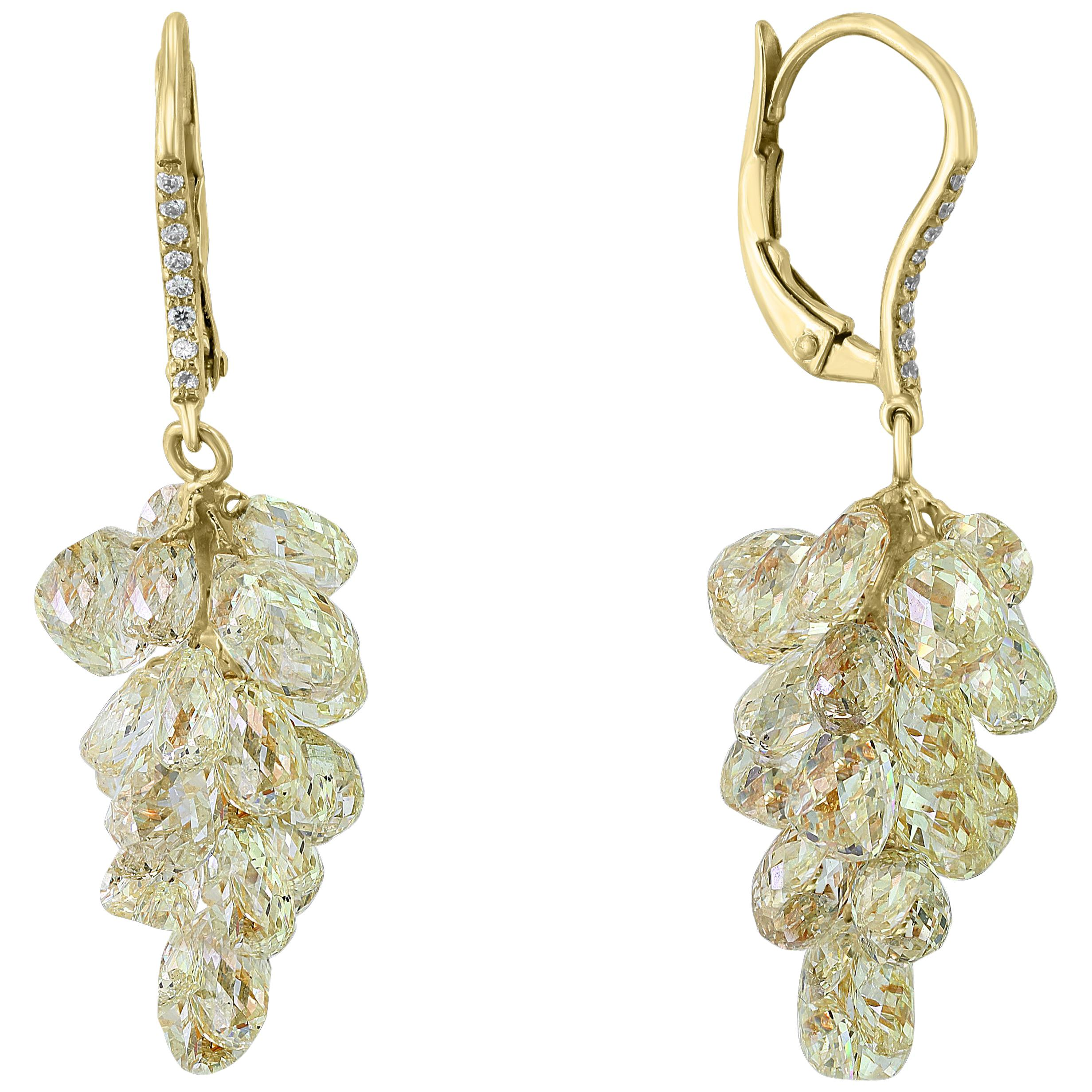 27 Carat Diamond Briolettes Hanging Drop Earrings 18 Karat Yellow Gold