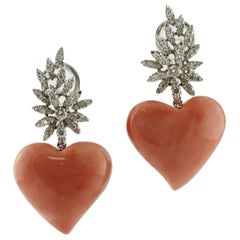 Heart Shape Pink Coral and White Diamonds Leaves, White Gold Clip-on Earrings