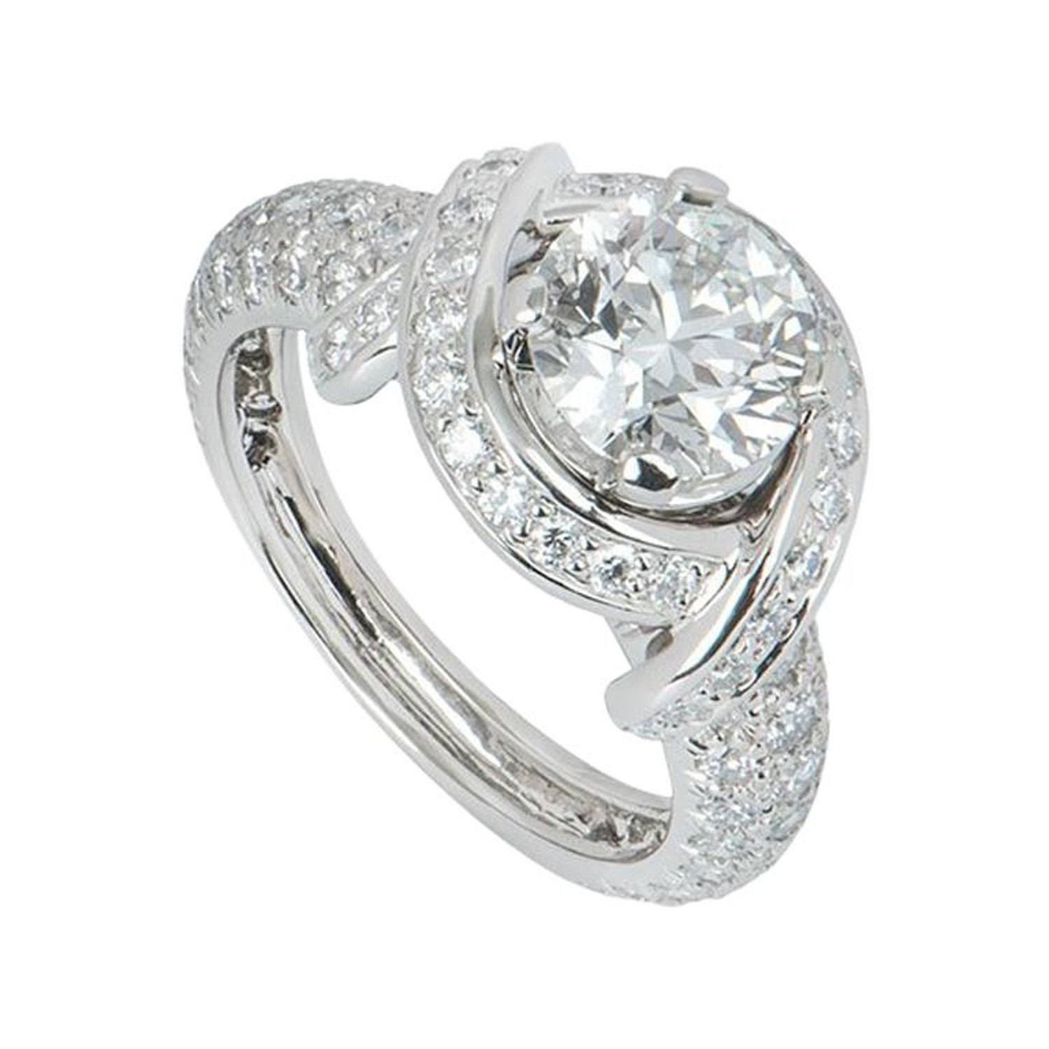 d385f45e1 Tiffany and Co. Platinum Diamond Schlumberger Engagement Ring For Sale at  1stdibs