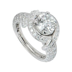 Tiffany & Co. Platinum Diamond Schlumberger Engagement Ring