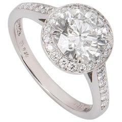 Tiffany & Co. Platinum Diamond Halo Soleste Ring 1.43 Carat Solitaire