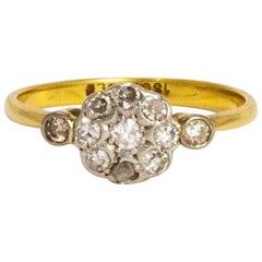 Edwardian Diamond Cluster 18 Carat Gold Ring