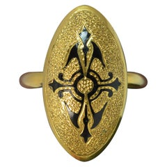 Victorian Large Enamel and 18 Carat Gold Panel Mourning Ring