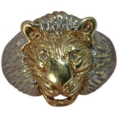 Men's Realistically Formed 9 Carat Gold and Diamond Lion Head Signet Ring