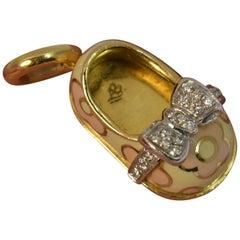 Aaron Basha 18 Carat Gold Enamel Pink Flower Shoe Charm Pendant