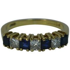 18 Carat Gold 0.60 Carat Diamond and Sapphire Half Eternity Stack Ring