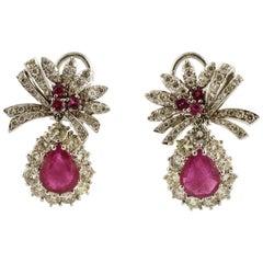 Beautiful Rubies and Diamonds, 18 Karat White Gold Ribbon Earrings