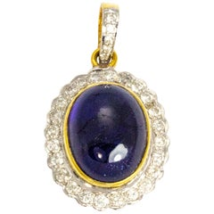 Vintage Cabochon Sapphire and Diamond 18 Carat Gold Pendant