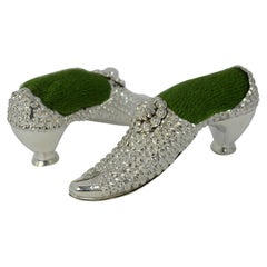 Victorian Pair of Solid Silver Shoe Shaped Pin Cushions