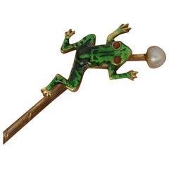 Novelty Victorian Frog Enamel 9 Carat Gold Stick Pin in Antique Box Dated 1915