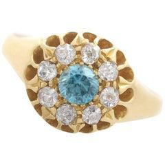 1915 Antique Blue Zircon Diamond Gold Cocktail Ring