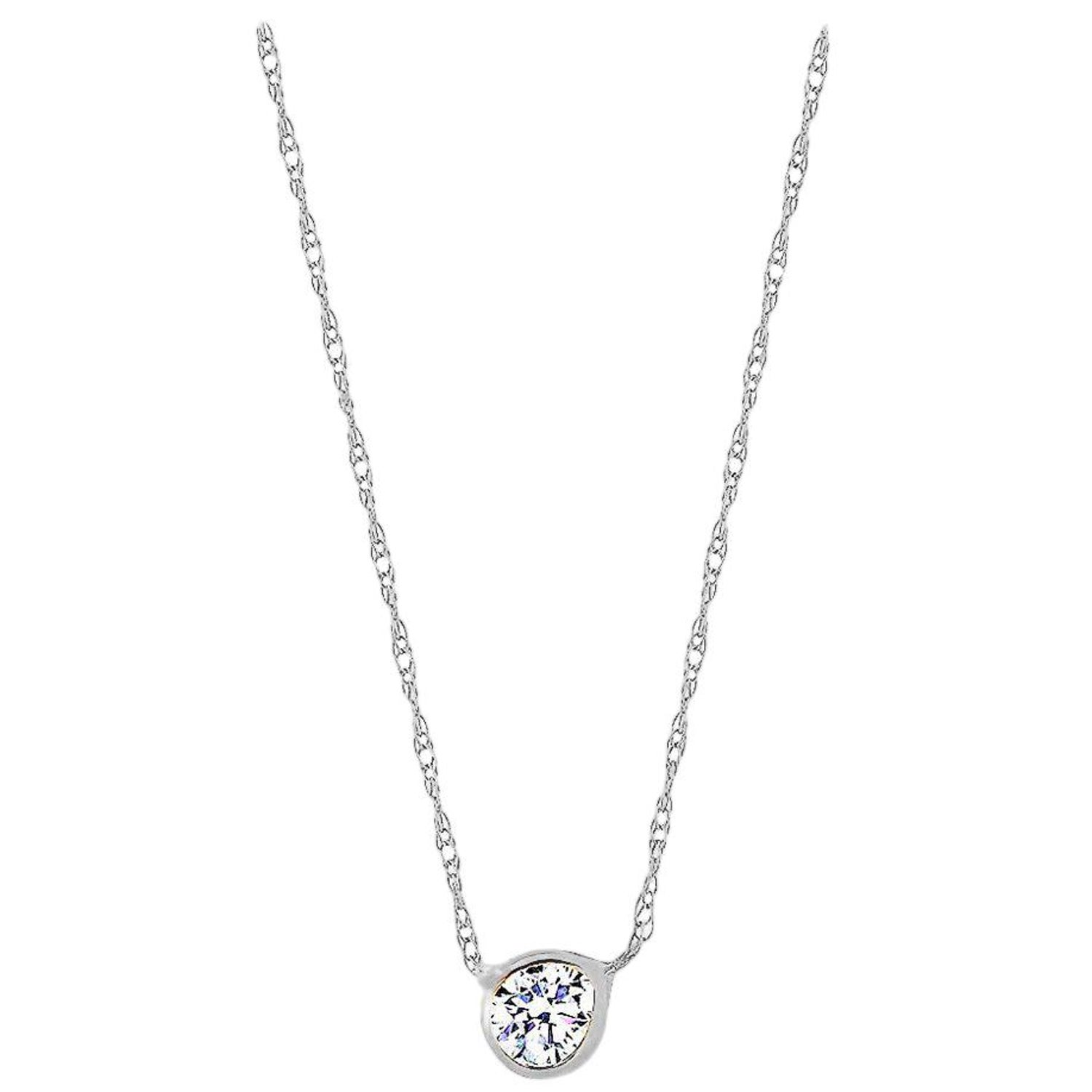d1ca25eaf93a8b White Gold 15-Point Diamond Bezel Set in Pendant Necklace at 1stdibs