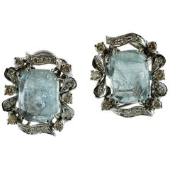 Diamonds and Beautiful Aquamarine, 14 Karat White Gold Earrings