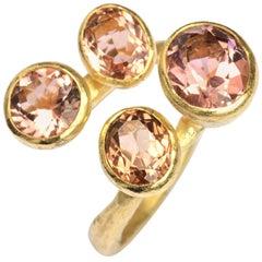 18 Karat Gold Four Pink Tourmaline Cocktail Ring Handmade by Disa Allsopp