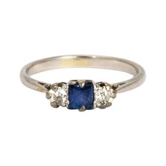 Edwardian Platinum Diamond and Sapphire Three-Stone Ring