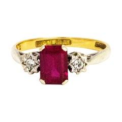 Edwardian 18 Karat Gold and Platinum Ruby and Diamond Three-Stone Rung