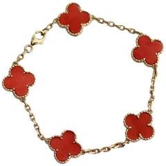 Van Cleef & Arpels Coral and 18 Karat Gold Alhambra Bracelet