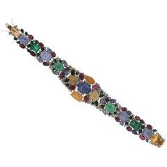 Sapphires 18 Karat White Gold Diamonds Ruby Emeralds and Opal Cuff Bracelet