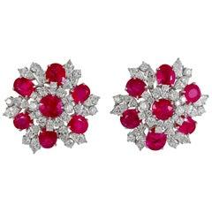 Bulgari Diamond, Burma Ruby Ear Clips