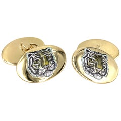 18 Karat Gold and Enamel Tiger Cufflinks