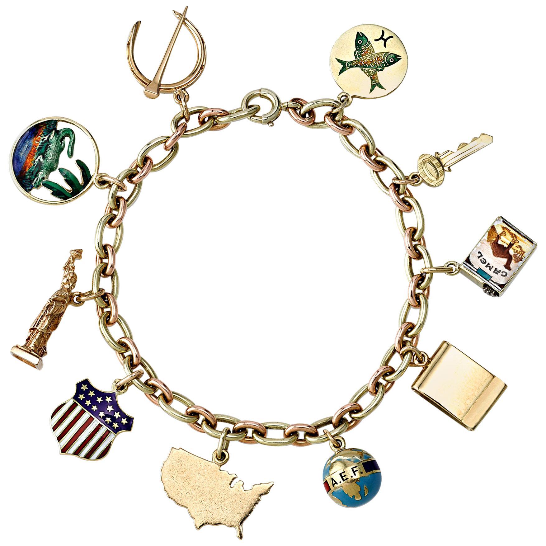 Cartier Gold and Enamel Charm Bracelet
