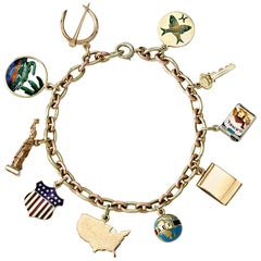 Cartier Gold and Enamel Charm Bracelet