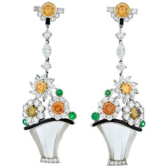 Raymond Yard Colored Diamond Flower Basket Earrings