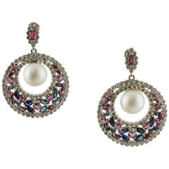 White Sea Pearls, Diamonds, Rubies, Blue Sapphires, White Gold Dangle Earrings
