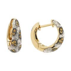 Yvonne Leon's Earring Hoop in 18 Karat Yellow Gold with Diamonds