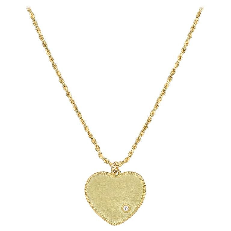 Yvonne Leon's Heart Necklace in 18 Karat Yellow Gold with Diamonds