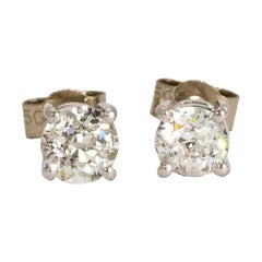 Vintage 18 Karat White Gold Diamond Stud Earrings TCW 130