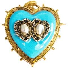 Victorian Blue Enamel and Diamond Set Gold Heart Pendant