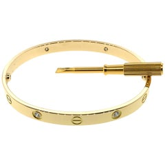 Cartier 18 Karat Yellow Gold 4 Diamond Love Bracelet