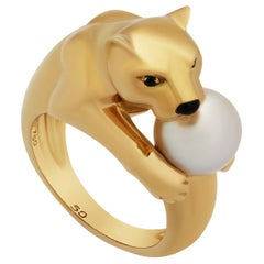 Cartier 18 Karat Yellow Gold Emerald Pearl Panther Ring
