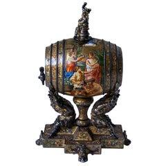 Rare 19th Century Bacchanalian Viennese Enamel Silver Wine Barrel