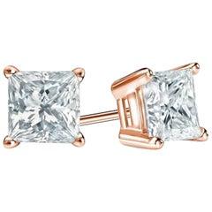0.50 Carat Princess Brilliant Cut Diamond Stud Earrings 18 Karat Gold Setting