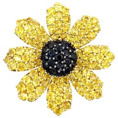 Jean Vitau 18 Karat Ebony and Yellow Sapphire Black-Eyed Susan Flower Brooch