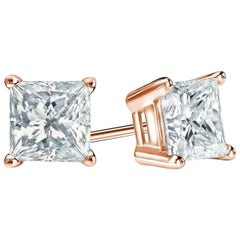 1 Carat Princess Brilliant Cut Diamond Stud Earrings 18 Karat White Gold Setting