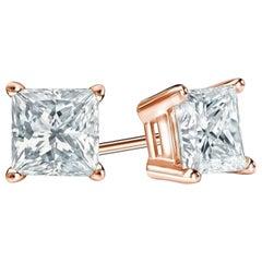 1.50 Carat Princess Brilliant Cut Diamond Stud Earrings 18 Karat Gold Setting