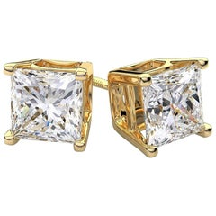 2.00 Carat Princess Brilliant Cut Diamond Stud Earrings 18k White Gold Setting